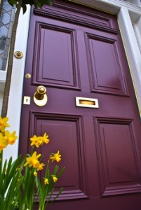 Gorgeous front door finished in Farrow & Ball's Brinjal.