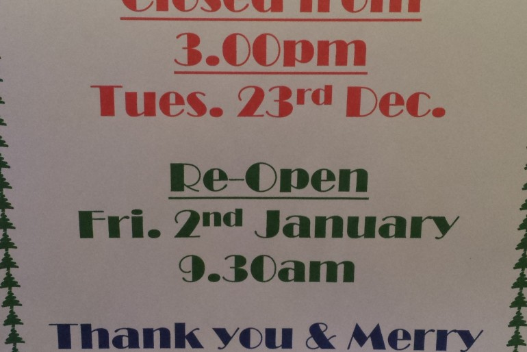 Christmas & New Year Closing